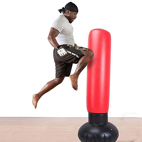 FOOING Boxsack Aufblasbar Freistehender Standboxsack 160cm, Punchingsäcke MMA Boxpartner Boxing Trainer Heavy Duty Boxsack mit Saugfuß (Schwarz/Rot)
