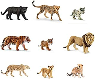 Schleich WILD CAT Series 3: Set of 9: Panther, Tigers, Cheetahs, Cubs and more: Bagged together nicely ready to give!