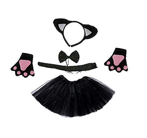 Disfraz de gato - gato negro - niña - tutú - diadema - guantes - pajarita - cola - disfraces para niños - halloween - carnaval - color negro - idea de regalo original papillon cosplay