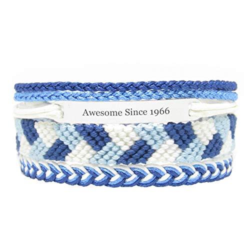 Miiras Geburtstag graviertes handgemachtes Armband - Awesome Since 1966 - Blau - Geschenk für Frauen, Mädchen, Freunde, Mütter, Töchter, Tanten, die 1966 geboren wurden