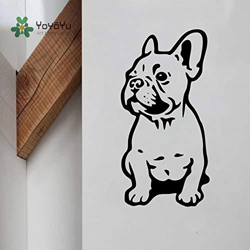 JXFM DIY Customized Adhesivo de Pared Vinilo Perro Pegatina Bulldog francés Lindo Animal decoración decoración de la Pared extraíble niños