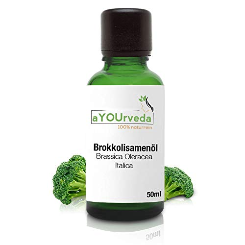Premium Brokkolisamenöl 50ml – hochwertiges Brokkoli-Kerne Öl als natürliches Trägeröl und Pflegeöl für Haut und Haare, ideal als nährendes Haarpflegeöl, 100{00bbebc2ee95701751eb133eb33915d5f9c67257a1a835987d1e7d026649056f} rein