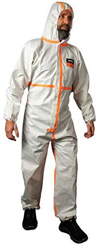 Uvex 4B Chemikalien-Schutzanzug - Weiß-Oranger Einweg-Overall - Partikeldicht XXL