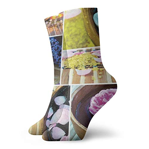 Compression High Socks-Spa Organic Cosmetics Theme Wooden Bowl Petals Lavender Candle Pebbles Therapy Oil,Socks Women and Men-Best for Running,Athletic,Hiking,Travel,Flight