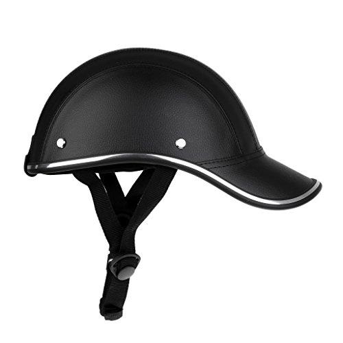 Motorradhelm Sommer Baseball Cap Schutzhelme Tropenhelm Fahrradhelm für Damen Herren - Schwarz