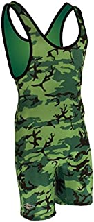 Matman Funky Camo Wrestling Singlet - Kelly Green/Lime/Black- Womens and Girls