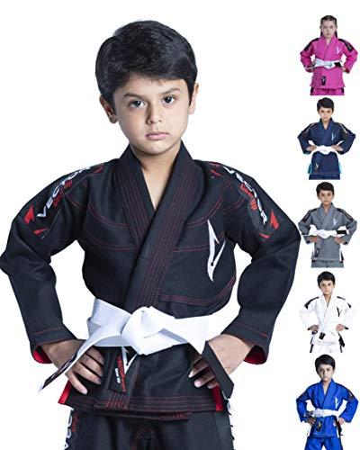 Vector Deportes 100% algodón Pearl Weave Kids Brazillian Jiu Jitsu BJJ Gi Attila Serie Kimono Ligero Tejido Preencogido, Negro