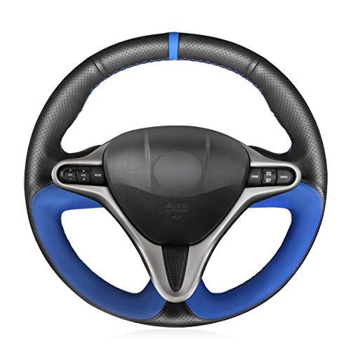 MEWANT Cubierta de volante de coche de cuero genuino negro y gamuza azul para Honda Civic 8 Civic 2006 2007 2008 2009 2010 2011 (3 radios) accesorios interiores automotrices