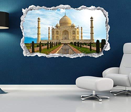 3D Wandtattoo Durchbruch tadsch mahal Skyline Indien Palast Wand Aufkleber Wanddurchbruch sticker selbstklebend Wandbild Wandsticker Wohnzimmer 11O2352, Wandbild Größe F:ca. 97cmx57cm