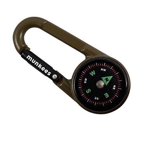munkees Kompass-Karabiner mit Thermometer, Schlüsselanhänger, Funktions-Karabiner, Aluminium, 3135 (Schlammgrün)