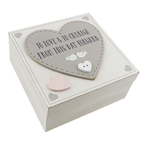 Love Story MDF Sqaure Keepsake Box 'Love & Cherish'