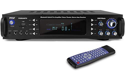 4-Channel Bluetooth Home Power Amplifier - 2000 Watt Audio Stereo Receiver w/Speaker Selector, AM FM Radio, USB/SD Card Reader, Karaoke Microphone Input - Home Entertainment System - Pyle P2203ABTU