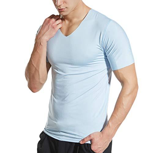 BOLANQ Herren Kurzarm V-Ausschnitt Cooling Atmungsaktive Ice Silk Quick Dry Top Bluse T-Shirt