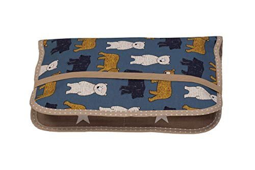 ULLENBOOM  Borsa per pannolini sabbia, orso (Made in EU) - Borsa porta pannolini per 3 pannolini, salviette umidificate e altri accessori, Borsa portapannolini con zip ed elastico, piccola e casual