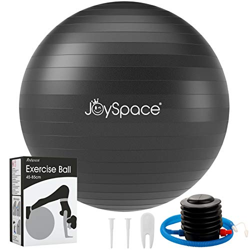 JOYSPACE Gymnastikball 75cm Sitzball Extra Dicker Yoga-Ball-Stuhl Anti-Berst-Stabilitätsball Pilates Ball als Fitness Kleingeräte und Balance Stuhl im Büro Hause Fitnessstudio inkl. Luft-Pumpe,Schwarz