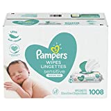 Baby Wipes, Pampers Sensitive UNSCENTED 14X Pop-Top, Hypoallergenic and Dermatologist-Tested, 1008...