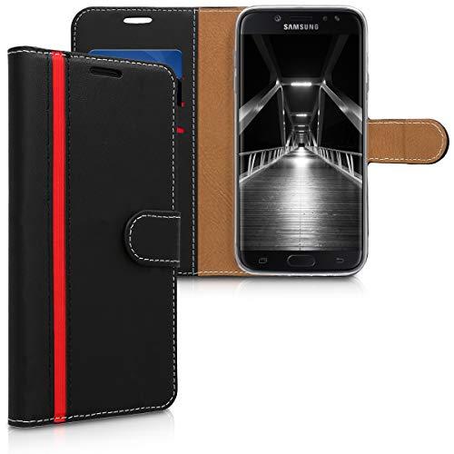 kwmobile Wallet Hülle kompatibel mit Samsung Galaxy J7 (2017) DUOS - Hülle Kunstleder mit Kartenfächern Stand in Schwarz Rot
