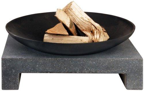 Esschert Design Feuerschale Granito eckiger Sockel, schwarz, 59x59x23 cm, FF135