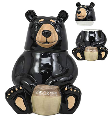 Ebros Rustic Wildlife American Black Bear With 'Cookies' Honey Pot Ceramic Cookie Jar 8.25'Tall Collectible Kitchen Hosting Dining Accessory Woodlands Forest Bears Cookies Jars Decorative Figurine