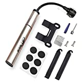 SABLUE Bike Pump Mini Bike Pump Kit, Bicycle Tire Repair Kit Tire Levers and Self-Adhesive Patches Presta and Schrader Valve for Mountain & Road Bikes, Sports Ball (BMini)
