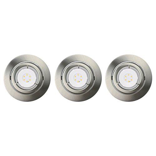 Set de 3 Spot LED encastrable 3 x 6,2 W GU10 orientable à 25 ° à intensité variable Fer brossé