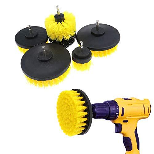 D2D Reinigungsbohrerbürsten Set Aufsatz Power Schrubber für Fliesen Fugen Küche Möbel Ziegel Badewanne WC Boden Set 5 Stück gelb