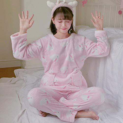 DGdolph Pyjamas Schlafanzug für Mädchen, Tiere, Flanell, Plüschtier, Schlafanzug, Rosa 2#L