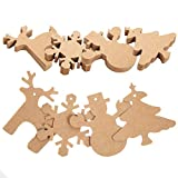 DIY 100 PCS Kraft Paper Tags Gift Tags ,Snowman, Snowflake, Reindeer and Christmas Tree 4 Patterns Design,for Xmas and Party