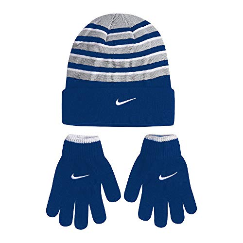 NIKE Boy's Cold Weather Snow Cuff Style Hat and Gloves Set (8/20, Game Royal(9A2315-U89)/White)