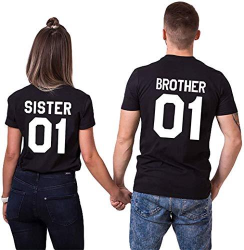 Brother Sister Partner T-Shirts für Freunde Geschwister (Damen, Schwarz, XL)