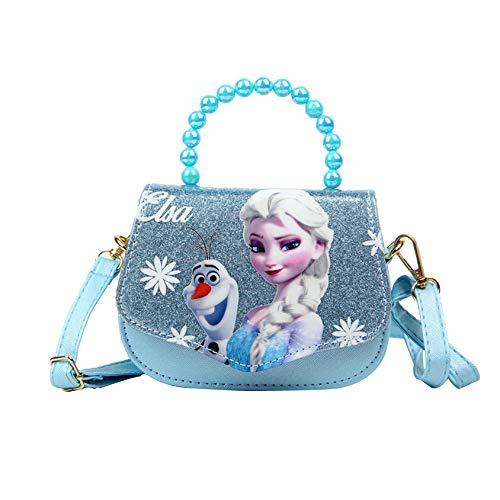K-ONESEEYOU Elsa Mädchen Taschen Pailletten Geldbörse Frozen 2 Eiskönigin Kinder Glitzer-Handtasche Umhängetasche mit Anna und ELSA 2 (Blau)