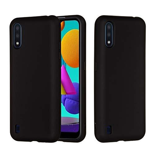 BAIYUNLONG Funda Protectora, for Samsung Galaxy M01 Color sólido líquido de Silicona a Prueba de Golpes de Choque Teléfono móvil Funda Protectora (Color : Black)