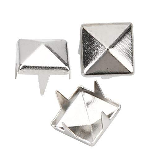 400 juegos de tachuelas de punta cuadrada de cuatro mandíbulas, remaches de punta cuadrada para manualidades en cuero DIY, tachuelas de punta cuadrada(4mm-Plata)