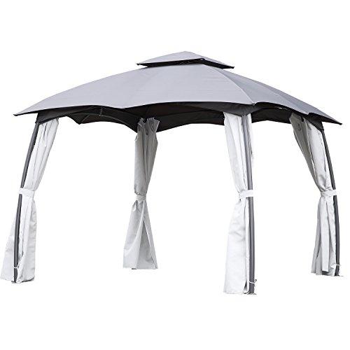 Angel Living Cenador de Acero con Techo al Aire Libre, Pabellón con Diseño Elegante y Estable, Gazebo Impermeable Resistente al UV con Mosquitera de 4 Cremalleras para Fiesta Patio Jardín (3X4m)