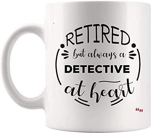 DKISEE Taza de café con detectives retirados para fiestas de jubilación – True Detectingn oficial de policía investigador para hombres y mujeres, 12 onzas