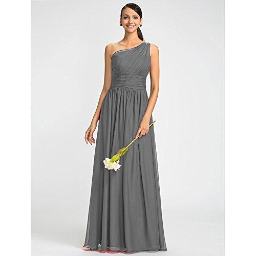 kekafu Mantel/Spalte eine Schulter bodenlangen Chiffon Kleid mit Perlen Schärpe/Ribbon Seite Drapieren durch LAN TING Braut, Silber, US8/UK 12 / EU 38