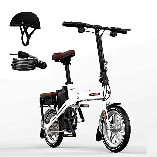 H&G 14'' Bicicleta Electrica Plegables, 48V 12.5Ah Iones Litio Bicicletas Tres Modos de Trabajo con Motor de 250W Velocidad máxima(Casco y candado),White