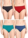 Lux Cozi for Her Women's Plain Cotton Hipster Panties (COZIHER_PTY_101_4PC_Assorted_90) (Combo Pack of 4) (Colors and Prints May Vary)