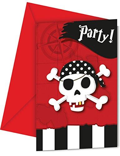 6 Cartes d'invitation + enveloppes carte au trésor pirates - taille - Taille Unique - 235113
