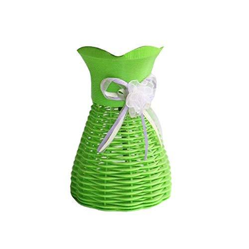 Vase Plastic Rattan Simulation Basket Dried Flower Vase Pot DIY Home Office Decor Green