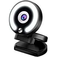 AiGouGou 2K Streaming Webcam with Ring Light and Microphone