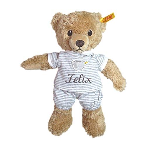 Steiff Schlaf gut Bär mit T-Shirt mit Ihrem Wunschnamen bestickt 25 cm grau 239908mn