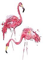 DIY数字油絵 キット ピンクのフラミンゴ 油絵 数字キットによる絵画 塗り絵 初心者 大人 手塗り DIY絵 デジタル油絵 40x50 cm(フレームレス)