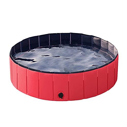 塩ビペットプール、折りたたみ式ポータブル犬用バス、屋外入浴用、猫と犬のクリーニング用品用の赤,160*30cm