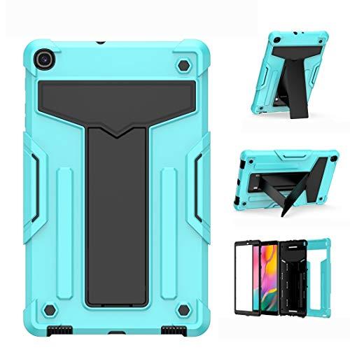 Caja Protectora de la Tableta para Samsung Galaxy Tab A10.1 (2019) T510 Soporte en Forma de T Contraste a Prueba de Golpes PC + Funda Protectora Plana de Silicona (Color : Mint Green+Black)