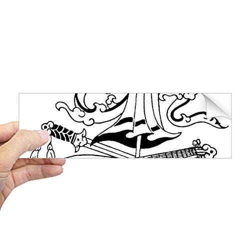 DIYthinker Chinese Paraplu Zwaard Draak Tekening Rechthoek Bumper Sticker Notebook Window Decal