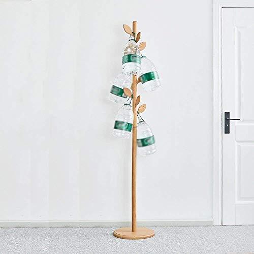 Lipenli Simple Wardrobe Perchero bastidores pantalla perchero de madera con forma de pie con 12 ganchos y SSD ropa de referencia de la bufanda y el sombrero de color natural Altura 73.2''