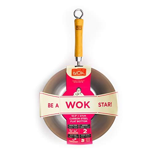 School of Wok Chinesische Pfanne/Wok, mit flachem Boden, aus Karbonstahl, 26,7cm Durchmesser, silberfarben