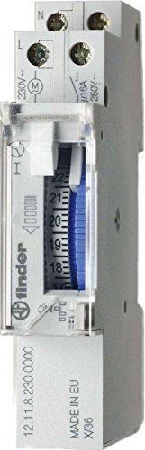 Finder 121182300000PAS Zeitschaltuhr, mit Tagesprogramm, mechanisch, 1Schließer, 16A, 230V, mit Gangreserve