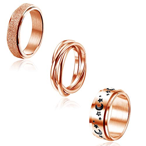 Jstyle 3Pcs Stainless Steel Spinner Band Ring for Women Mens Triple Interlocked Rolling Moon Star Celtic Stress Relieving Cool Fidget Rings Wedding Promise Band Rings Set Rose Gold Tone